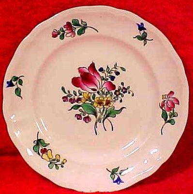 ANTIQUE LUNEVILLE MAJOLICA FAIENCE TULIP  PLATE, ff96