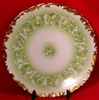 Antique Limoges T&V Green Roses Plate c.1892-1907, L78