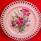 Antique Luneville K&G Roses & Flowers Reticulated Plate, lun62
