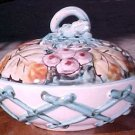 Vintage Italian Majolica Art Pottery Covered Dish Fruit & Leaves, im35