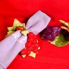 Vintage Set of 2 Hand Painted Fine Bone China NapkinRings Grapes, Cherries, Leaves, im43