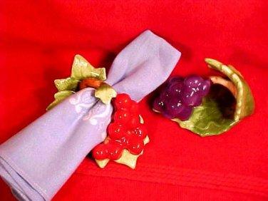 Vintage Set of 2 Hand Painted Fine Bone China NapkinRings Grapes, Cherries, Leaves, im43
