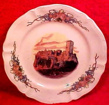 Antique French Obernai Faience Sarreguemines Castle Plate, ff55