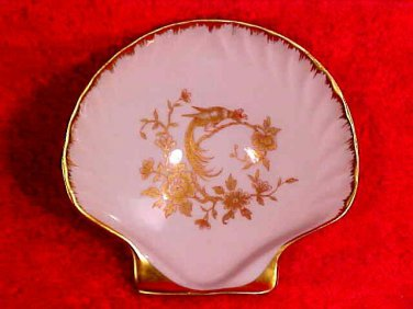 Vintage Castel Limoges France Porcelain Shell Open Salt with Phoenix Bird, L176