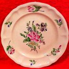 Antique French Luneville Faience Rose & Flowers Plate, lun86
