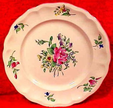 Antique Luneville Rose Faience Plate, lun80