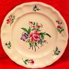 Antique Luneville Rose and Purple Flowers Faience Plate, lun79