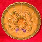 Antique Vintage Sarreguemines Majolica Grapes & Wine Leaf Platter, fm868
