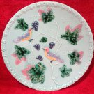 Vintage German Majolica Birds & Grapes Platter Green Background, gm800