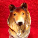 Vintage Majolica Collie Dog Figurine, gm804