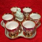 Vintage French Porcelain Egg Cup & Salt Set w Tray, p185