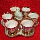 Vintage French Porcelain Egg Cup & Salt Set w Tray, p185