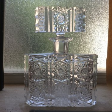 Antique Brilliant Period Large Crystal Perfume Bottle, gl87