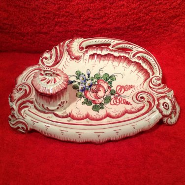 Antique Vintage French Faience Inkwell Desk Set c.1891-1920, ff293