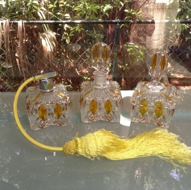 Antique Vintage 3 Piece Perfume Dresser Set c.1920's, gl92