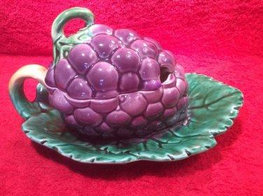 Beautiful Vintage Sarreguemines Majolica Palissy Large Jam Jelly Pot, fm960