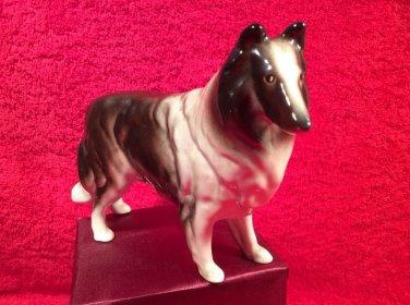 Vintage Majolica Rough Coat Collie Dog Figurine Statuette, fm892