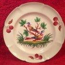 Beautiful Vintage Faience Saint Clement Hand Painted Birds & Cherries Plate ff427