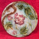 Antique French Majolica Pink Flowers & Green Leaves Plate c1800's, fm924