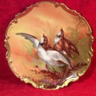 Antique Limoges Quail in Flight Game Bird Wall Platter Signed by Artist, L306