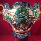 Antique French Majolica Grapes & Leaves Cache Pot Planter Jardiniere, fm936