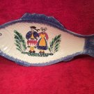 Large Vintage French Majolica Faience Bretagne Fish Platter Hand Painted, ff403