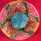 Antique French Art Nouveau Majolica Pink Flowers & Lucky 3 Leaf Clovers, fm945