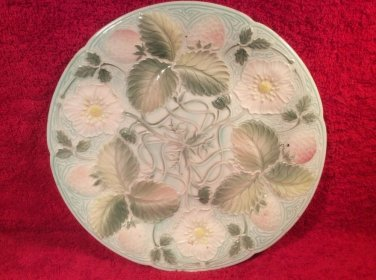 Antique French Majolica Art Nouveau Strawberries, Flowers & Leaves Plate c1890's, fm946