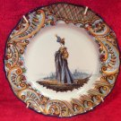 Antique Keller & Guerin Hand Painted French Faience Fashionable Lady Plate c1890