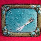 Antique French Majolica Luneville Asperagus &Strawberries Platter, fm883
