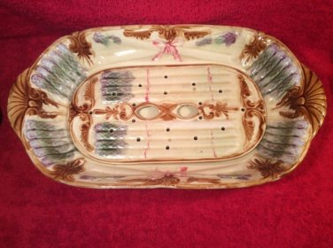 Antique French Majolica 2 Piece Asparagus Platter c.1850-1890, fm916