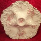 Antique Limoges Porcelain Pink Flowers & Brushed Gold 5 Well Oyster Plate c1891, op239