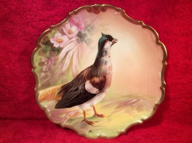 Antique Hand Painted Limoges Quail & Flowers Wall Plaque Signed c1890-1900, L283