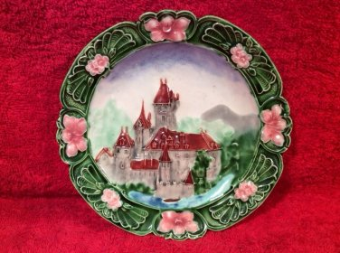 Antique Majolica Art Nouveau Castle Wall Plate Austria c1800's, gm821