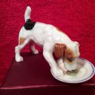 Vintage Royal Doulton Terrier Puppy Cleaning His Plate, em50