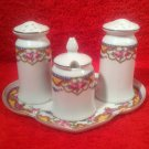 Antique Czech 1920's Porcelain Salt Pepper Condiment Set w Tray, p192