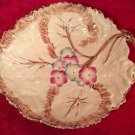 Early Antique Majolica Handled Flowers & Leaves Platter 1800's, gm822