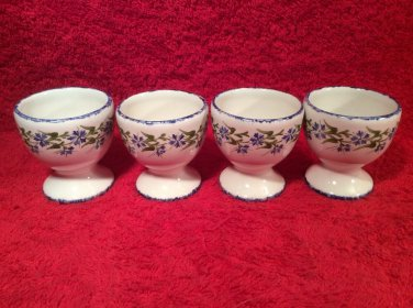 Vintage Hand Painted Signed by Artist French Faience Egg Cups, ff387