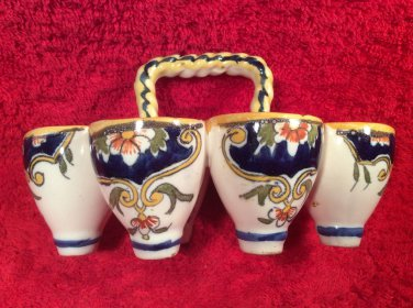 Antique French Faience Egg Cup Basket Rouen Style c.1903-1913, ff386