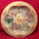 Beautiful Antique Majolica Fans & Flowers Plate Dish Bowl, fm980