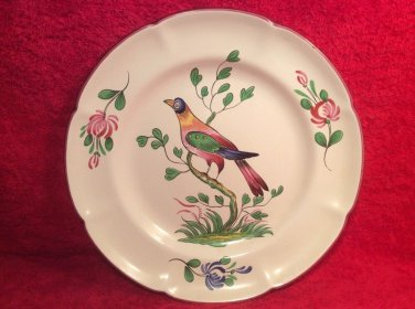 Beautiful Vintage Colorful Bird in Tree Hand Painted Faience Plate c1976, ff443