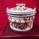 Antique Vintage French Rouen Faience Covered Salt Tub, ff340