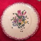 Antique French Chaumeil Hand Painted Faience Flower Bouquet Plate, ff339