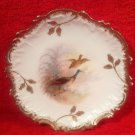 Antique Limoges Hand Painted Ring Necked Birds Plate c1891-1900, L235