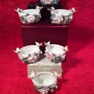 Antique German Porcelain Birds & Flowers On Basket Open Salts Set of 6, p216