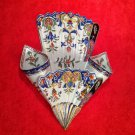 Antique French Faience Desvres Tripple Wall Pocket Vase c.1867-1887, ff312