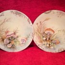 Antique Pair JP Limoges Handpainted Mushroom Plates, L271