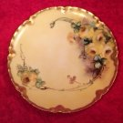 Antique French Limoges Handpainted Haviland Yellow Roses Plate, L269
