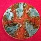 Antique French Majolica Leaf & Basketweave Plate c.1800's, fm907