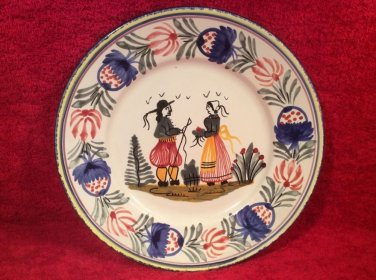 Sweet Vintage HB Quimper Breton Couple French Faience Plate, ff394